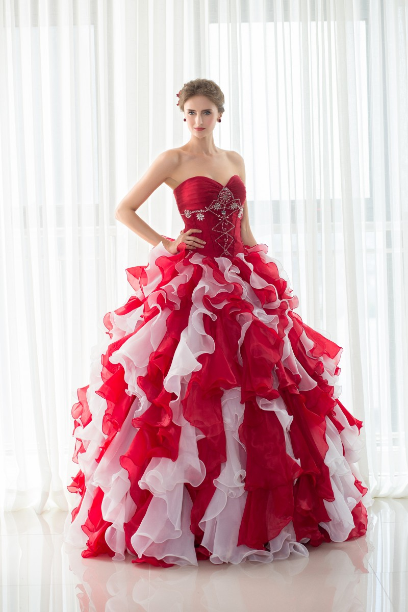 79ae6d41a9a Ruffled Mixed Color Organza Ball Gown Quinceanera Dresses with Jacket