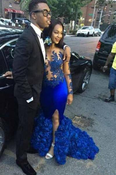Royal Blue Mermaid Prom Dress with Illusion Bodice