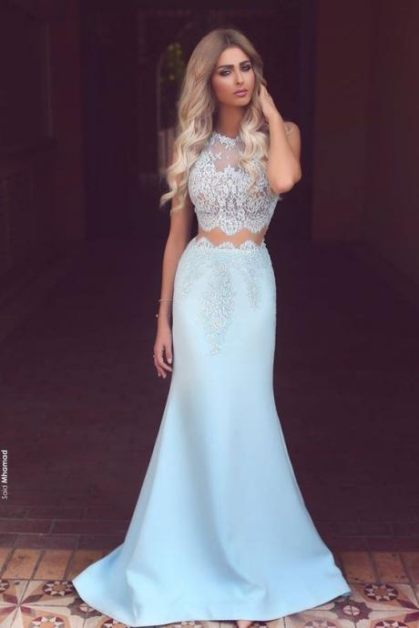 Light Blue 2 Piece Prom Dress