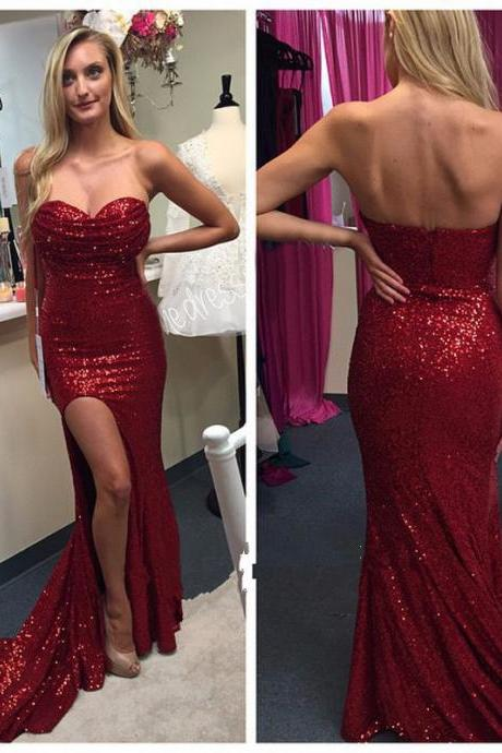 Sleeveless Sweetheart Dark Red Sequin Prom Dress with Side Slit