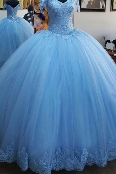 Off the Shoulder Blue Ball Gown Quinceanera Dress