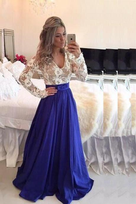 Prom Dress Long Sleeves Lace Bodice Royal Blue Skirt Formal Occasion Dress