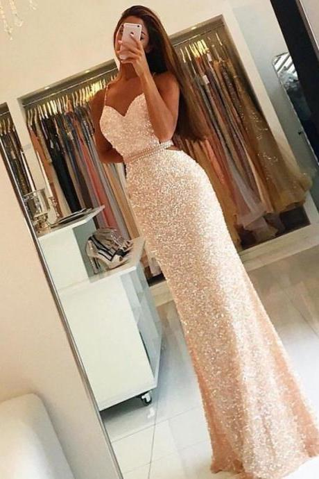Sequin Prom Dress, Backless Prom Dress, Sexy Prom Dress