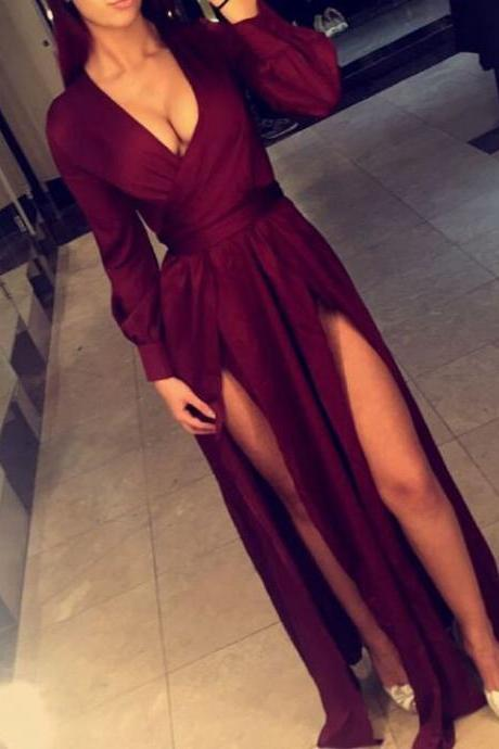 Long Sleeves V Neck Maxi Dress with Side Splits