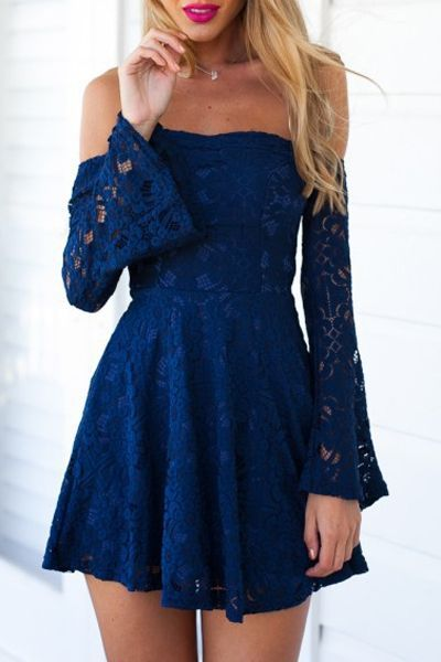 Navy Blue Lace Summer Mini Dress