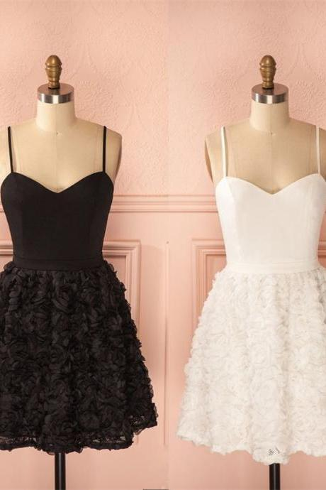 Little White/Black Dress with 3D Rose Floral Skirt, Mini Dress, Party Dress, Graduation Dress, Homecoming Dress