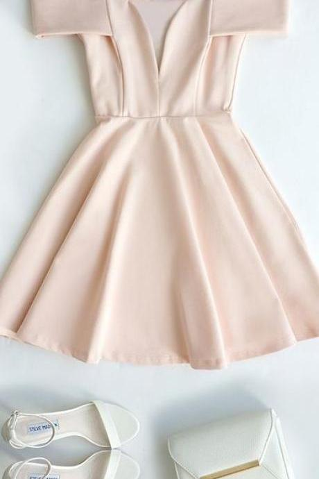 Off Shoulder Baby Pink Short Dress