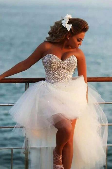Sweetheart High Low Wedding Dress with Beads