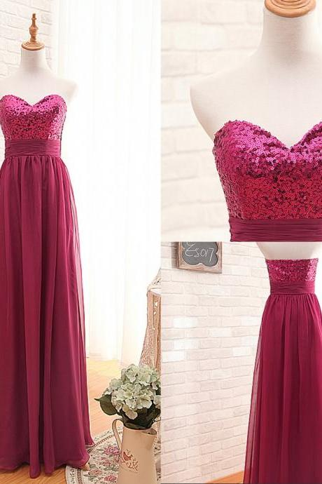 Rose Red Sequin Bridesmaid Dress Party Dress Evening Dress