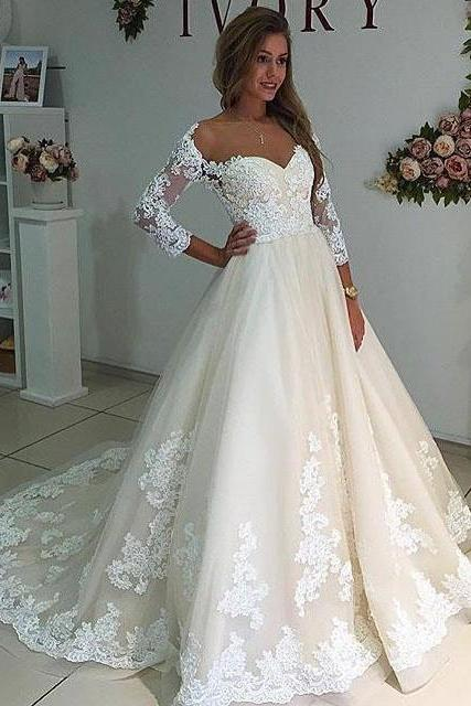 Country wedding dresses and bridal gowns luulla cheap wedding dresses 2017sheer neck long sleeves ivory wedding dress with lace junglespirit Images