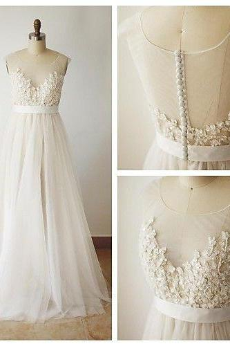 Sheer Sweetheart Neckline Long Off White Tulle Wedding Dress with Sash