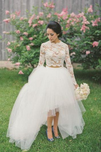 Ivory 2 Pieces High Low Wedding Dress