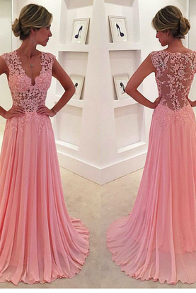 V Neck Floor Length Long Evening Dress with Illusion Back