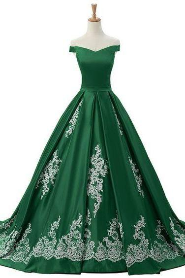 Off the Shoulder Ball Gown Formal Occasion Dress with Appliques