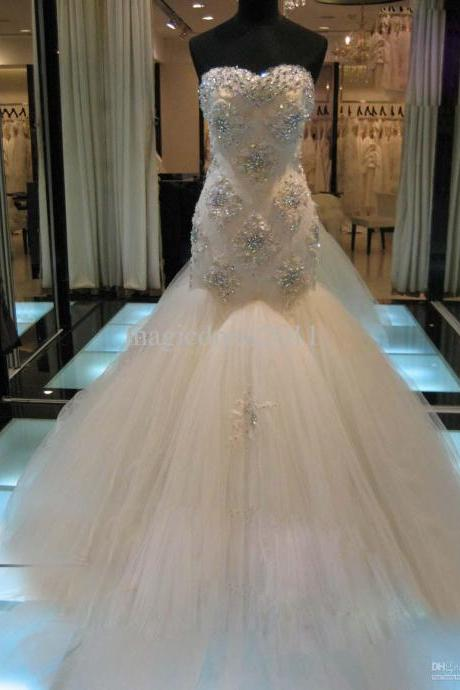 Gorgeous Strapless Mermaid Wedding Dress with Crystals