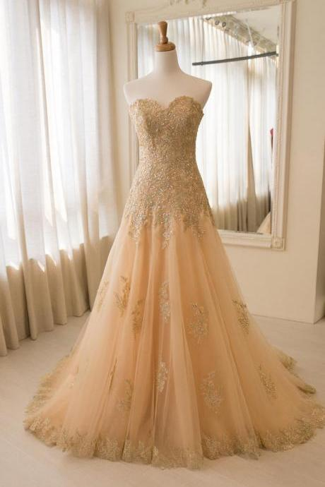 Strapless Champagne Wedding Dress with Appliques