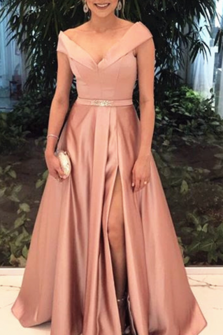 V Neck Long Satin Prom Dress with Slit