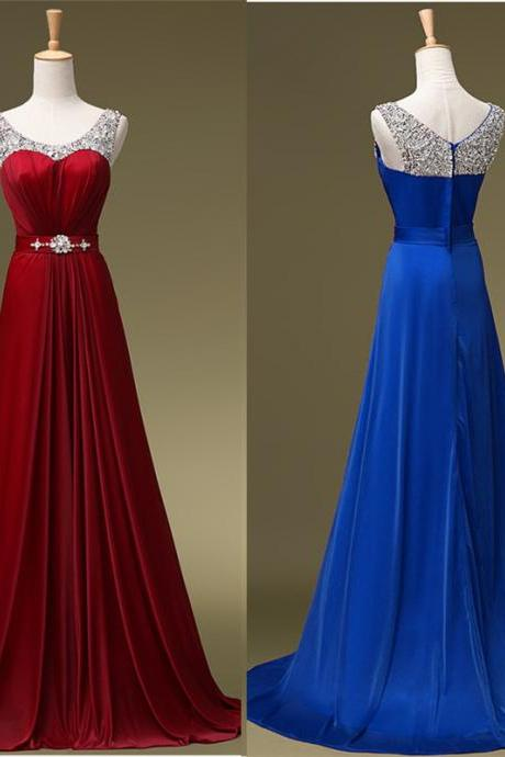 Prom Dress Beaded Scoop Neckline Long Chiffon Evening Dress