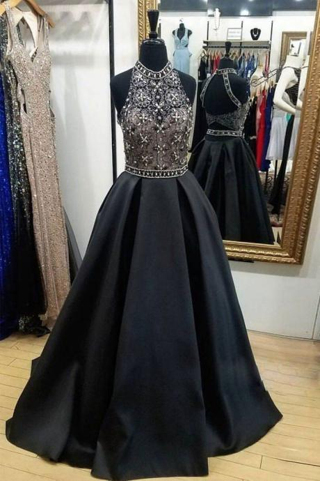 Black High Neck Lace Beads Long Prom Dress