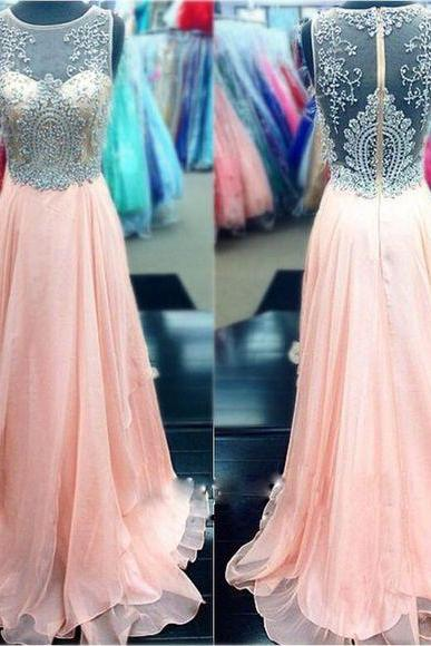 Illusion Sweetheart Long Chiffon Prom Dress