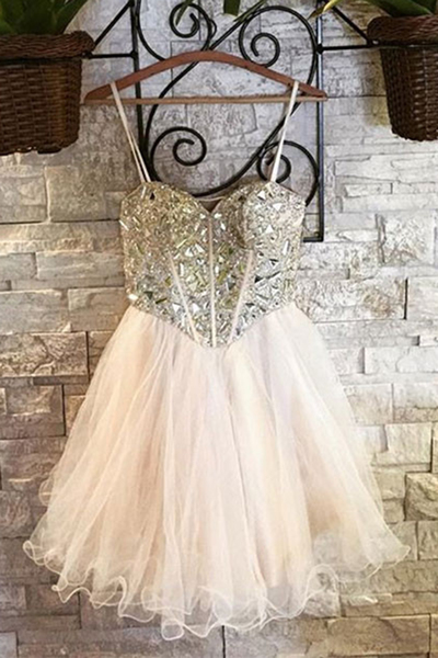 Spaghetti Straps Short Graduation Homecoming Dress with Crystals