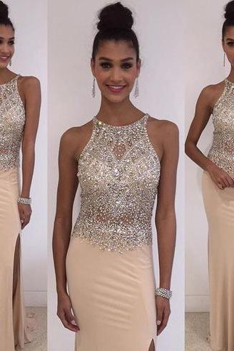 Beaded Bodice Prom Dress with Slit
