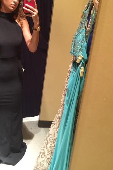 Halter Black Backless Prom Dress