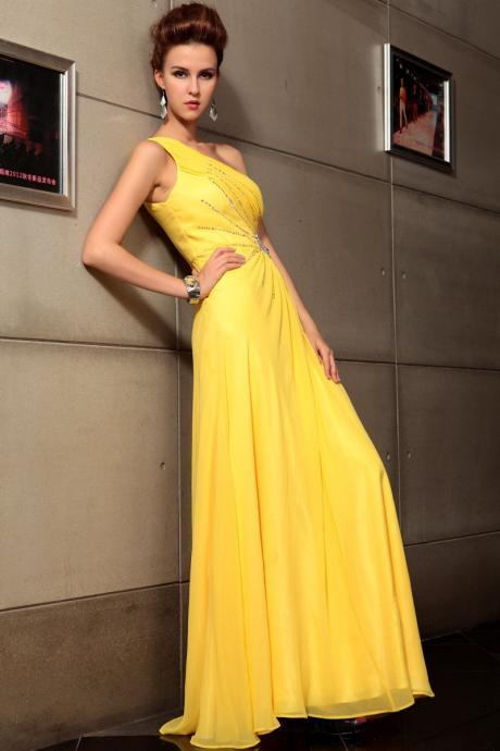 021e8d90b1a One Shoulder Yellow Formal Occasion Dress