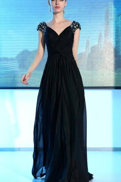 Long Black Evening Dress with Cap Sleeves
