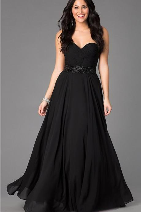 Black Strapless Sweetheart Ruched Beaded A-line Floor-Length Prom Dress, Evening Dress