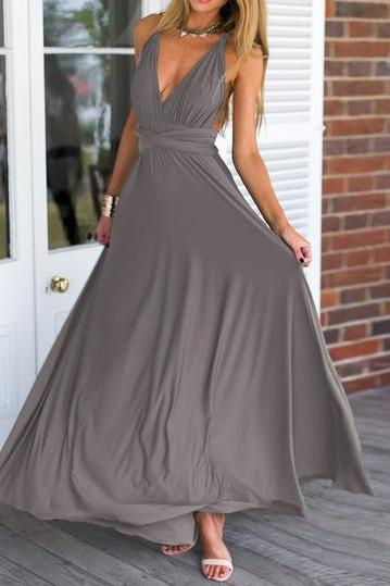 Plunging Neck Gray Maxi Dress