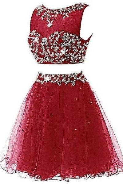 Dark Red 2 Pieces Homecoming Dress