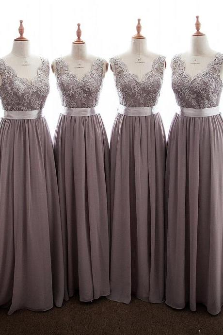 Long Gray Bridesmaid Dress