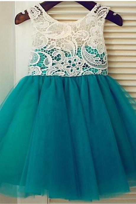 Peacock Blue Flower Girl Dress with Ivory Lace Bodice