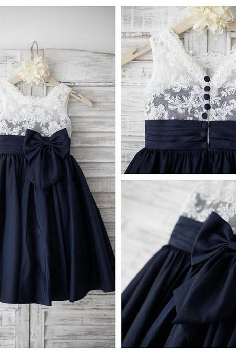 Ivory Lace Navy Taffeta Flower Girl Dress