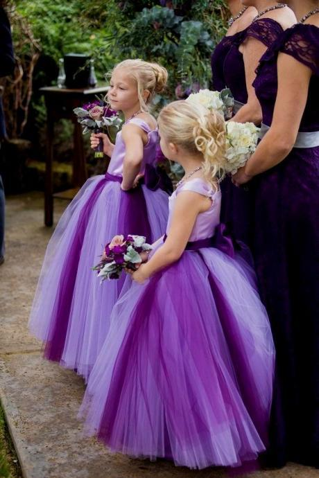 Color Flower Girl Dress with Pleated Skirt