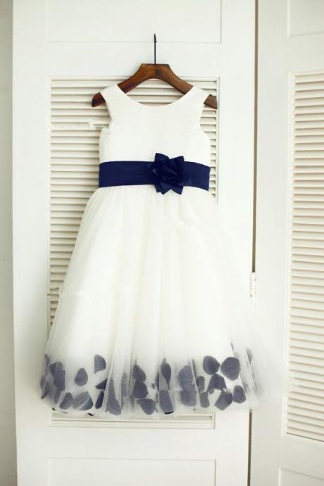 White Flower Girl Dress with Navy Belt