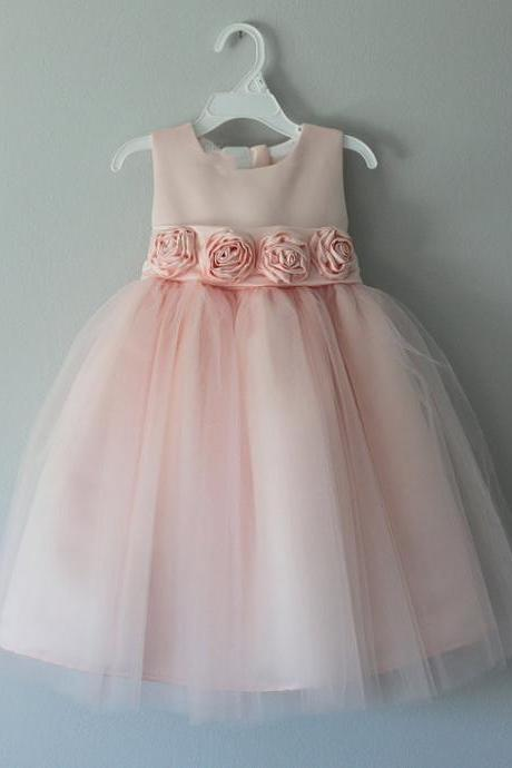 Peach Tutu Flower Girl Dress with Handmade Flowers