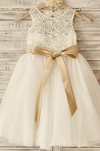 Vintage Flower Girl Dress with Ribbon Sash