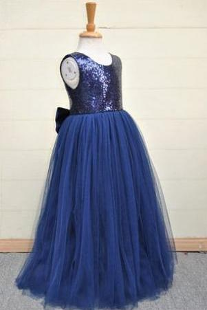 Long Navy Girl Pageant Dress with Back Bow