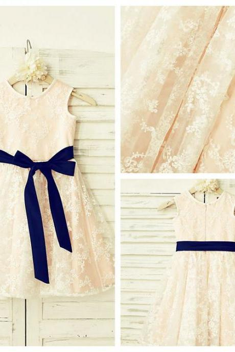 Champagne Flower Girl Dress with Navy Sash