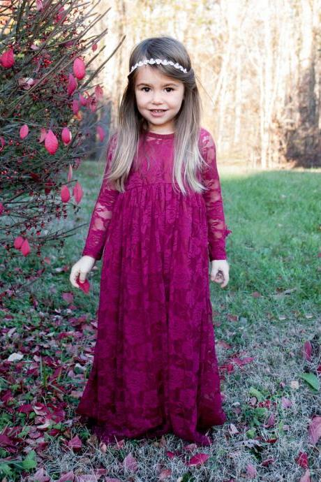 Purple Lace Flower Girl Dress with Long Sleeves