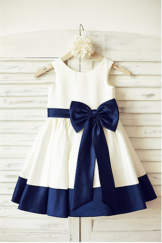 Ivory Navy Flower Girl Dress