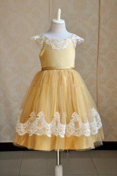 Cap Sleeves Gold Flower Girl Dress with Ivory Lace Trim