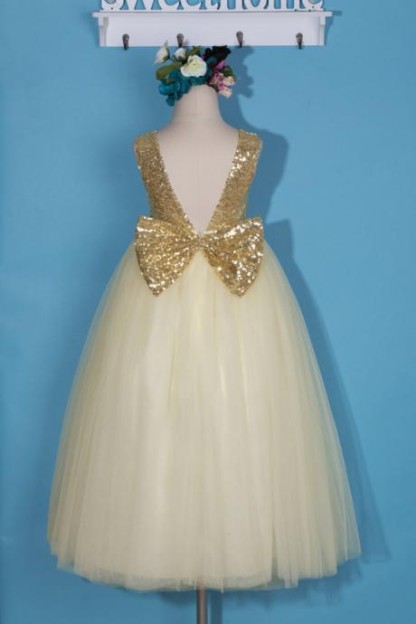 Champagne Communion Pageant Girl Dress with Sequin Bodice