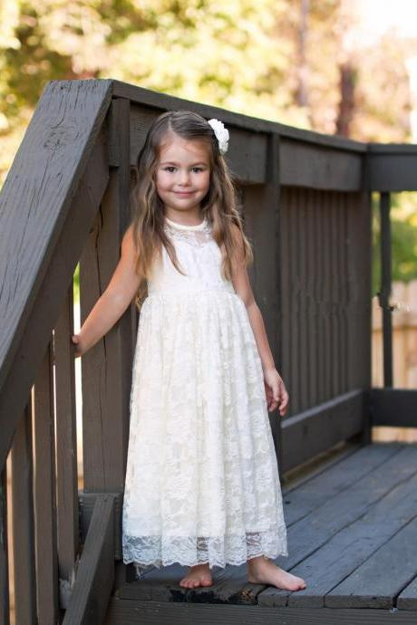 Ivory Lace Flower Girl Dress with Keyhole Back
