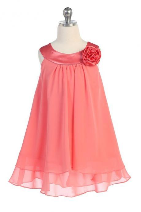 Satin bib Neckline Chiffon A-line Flower Girl dress