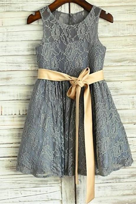 Grey Lace Flower Girl Dress with Champagne Sash