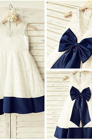 Ivory Lace Flower Girl Dress with Navy Trim
