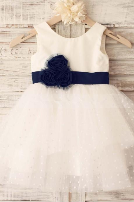 Polka Dot Ivory Flower Girl Dress with Navy Sash